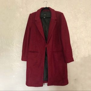 Forever 21 Burgundy Long Lined Peacoat Size Large